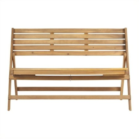 Teakwood Color - Hawthorne Collection Steel and Acacia Wood Folding Bench in Teak Color