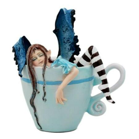 Ebros Gift Amy Brown Teacup Latte Coffee Drunk Fairy Figurine Fantasy Mythical Faery Magic Watercolor Collectible Decor Statue Gift Ideas for Women Teen Girls Fairy Garden DIY Art