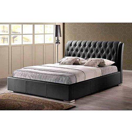 baxton studio bianca queen modern bed with tufted headboard black - Tufted Bed Frame Queen