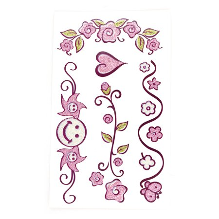 Flower Vines Tattoo (Lady Flower Heart Vine Pattern Removable Paper Sticker Temporary Tattoo Sheet )