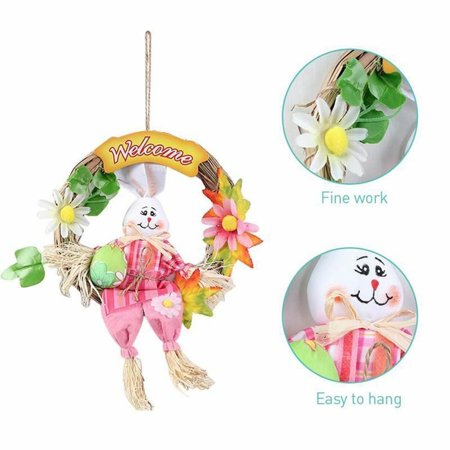 Easter Bunny Wreath Scarecrow Pendant Wall Door Hanging Ornament Home Decoration,](Plastic Easter Bunny Yard Ornament)