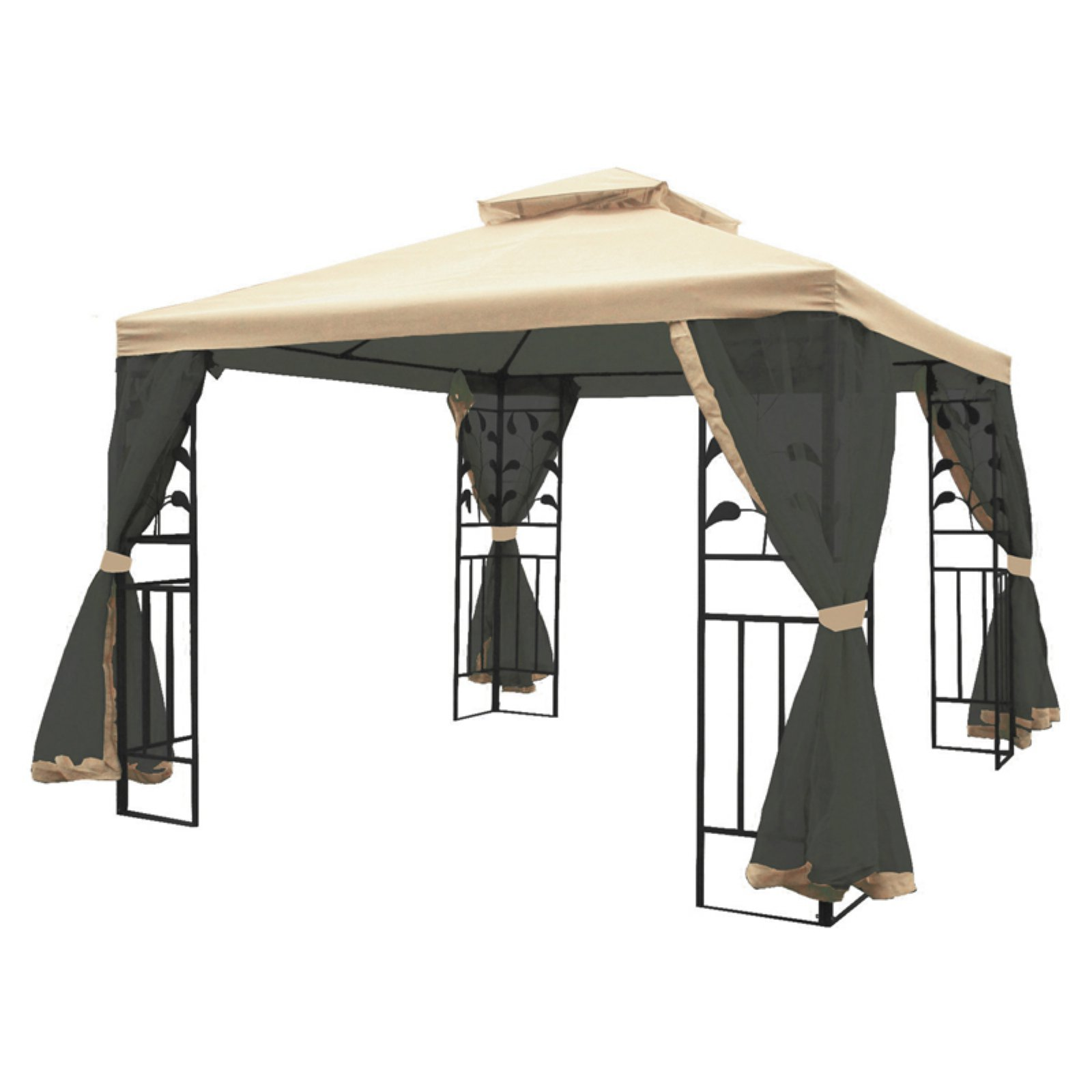MAOS 10 Ft. W x 10 Ft. D Steel Gazebo with Mosquito Netting ...