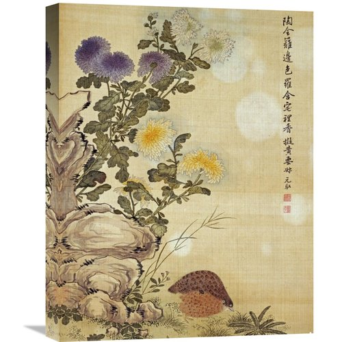 Global Gallery 'Chrysanthemums and Quail' by Ma Yuanyu Painting Print on Wrapped Canvas