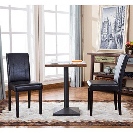 (Set of 2 Modern Wood Faux Leather Upholstery Dining Chair with Solid Wood Legs in Dark Espresso Finish (Black))