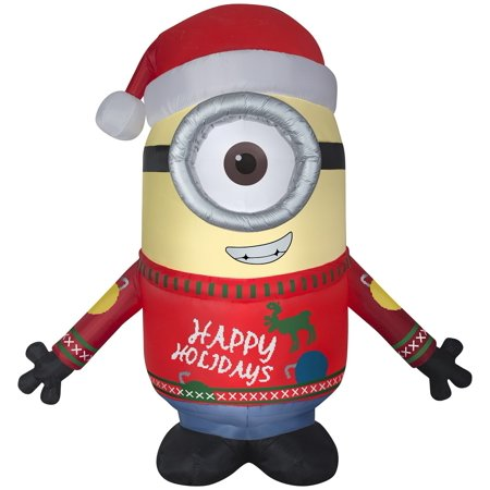 Gemmy Airblown 9' Tall Minion Carl In Sweater Christmas Inflatable Indoor Outdoor Holiday](Minion Christmas Inflatable)