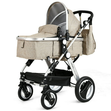 Costway Folding Aluminum Infant Baby Stroller Kids Carriage Pushchair w Diaper Bag (Infant Baby Diaper Bag)
