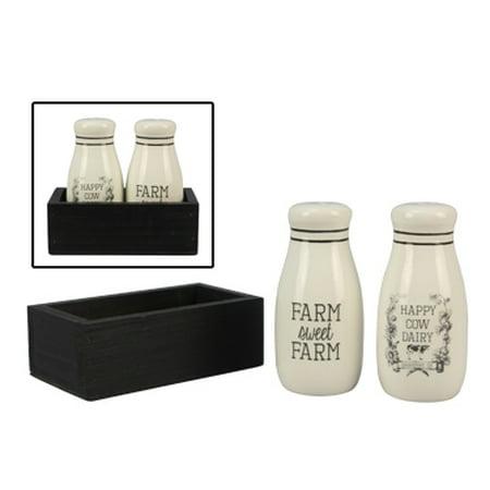 Ceramic Farm Salt & Pepper Shaker Set in Box