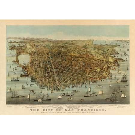San Francisco Birds Eye View 1878 Poster Print by Charles Parsons ()