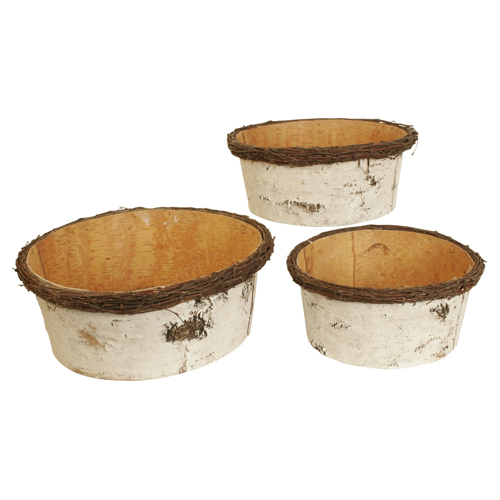 Wald Imports Birch Bark Bowl Planter - Set of 3