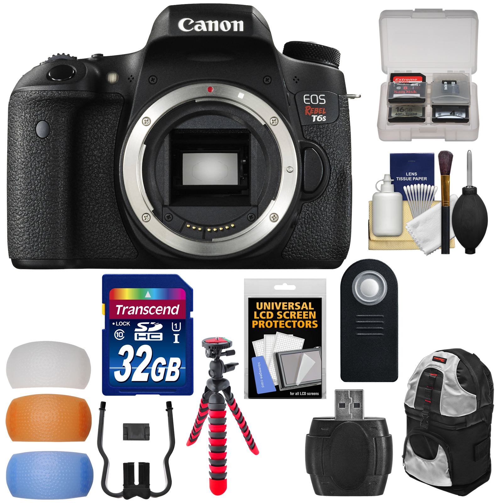 Canon EOS Rebel T6s Wi-Fi Digital SLR Camera Body with 32GB Card + Backpack + Tripod + Diffusers + Remote + Kit
