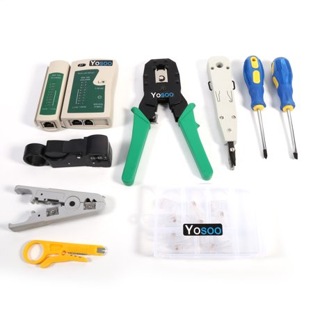 RJ45 RJ11 Crimper Cable Tester Cutter Punch Tool Screwdriver Network Kit