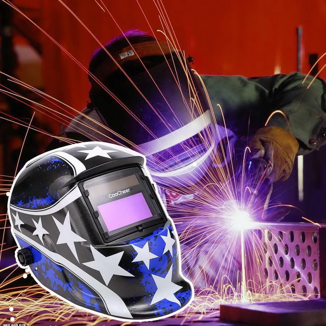 Welding Helmet Solar Powered Auto Darkening Hood with Adjustable Shade Range 4 9-13 for Mig Tig Arc Welder Mask BLK by