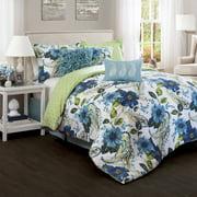 Floral Paisley Comforter Blue/Green 7-Piece Set