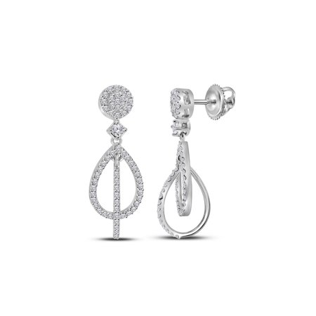 10kt White Gold Womens Round Diamond Double Teardrop Dangle Earrings 3/8 Cttw Double Teardrop Diamond Earrings