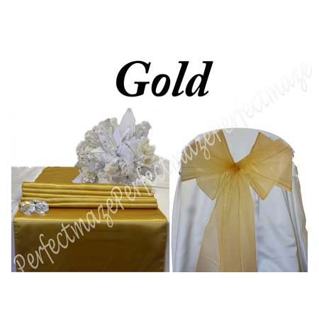 Perfectmaze Gold Satin and Organza Combo Kit 5 Satin Table Runners 25 Organza Chair Sashes for Wedding Party Event Decoration
