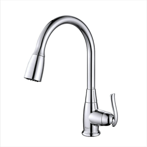 Kraus Single Handle Stainless Steel High Arch Kitchen Faucet With Pull Down Dual Function Sprayer In Chrome Walmart Com Walmart Com