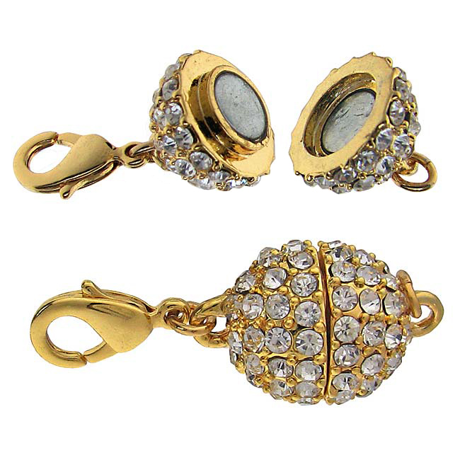 Beadelle Crystal 12mm Round Pave Magnetic Clasp Gold Plated / Crystal  (1 Piece)