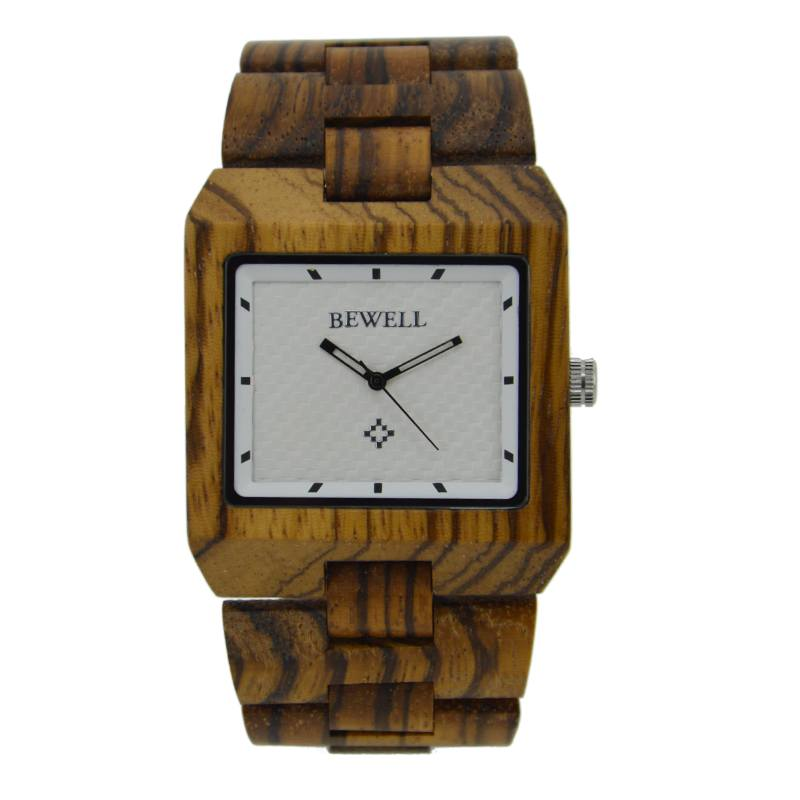 Bewell Zebra Wood Watch For Men With White Surface