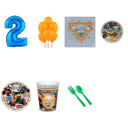 Monster Jam 3D 1st birthday supplies party pack for 16 (Monster Jam Birthday Party Supplies)