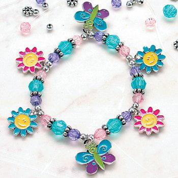 12 Beaded Butterfly & Daisy Charm Bracelet Craft Kit - Crafts for Kids & Jewelry Crafts](Bracelets For Kids)