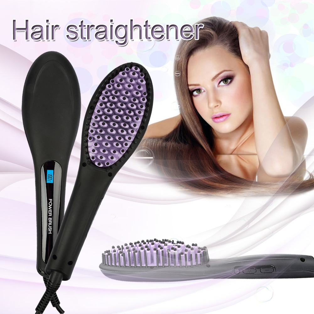 Coastacloud Brush Straightener Comb With LCD Display,US plug Fast Electric Digital Hair Straightening,Anti-Scald,Temperature Control Massager Straightening Irons