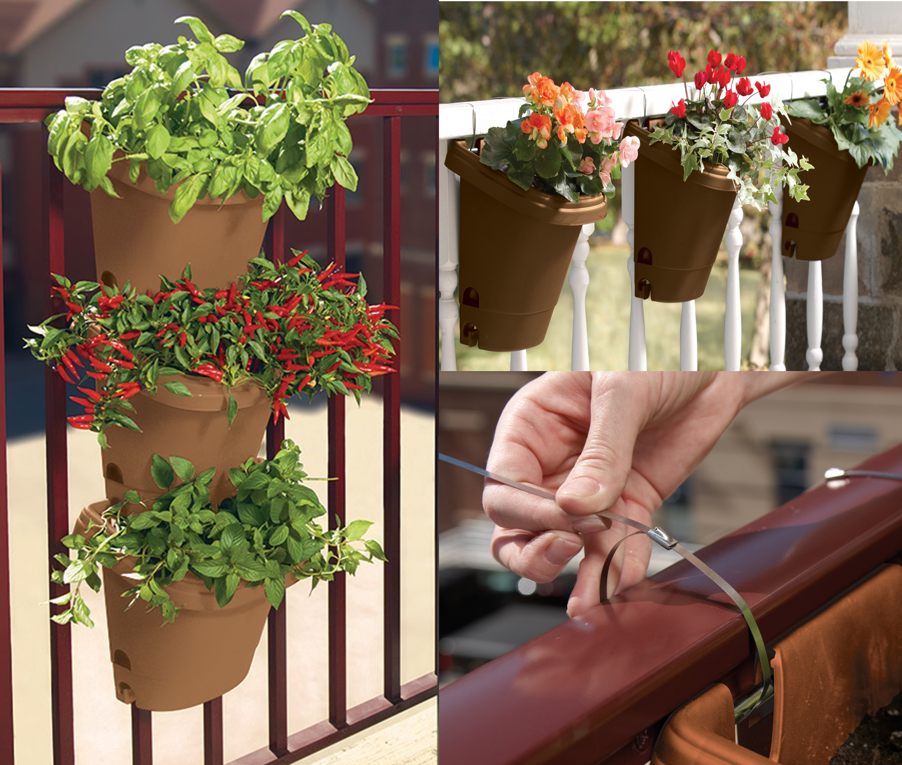 Bloem Hanging Garden Planter System 3 Pack Chocolate by Bloem