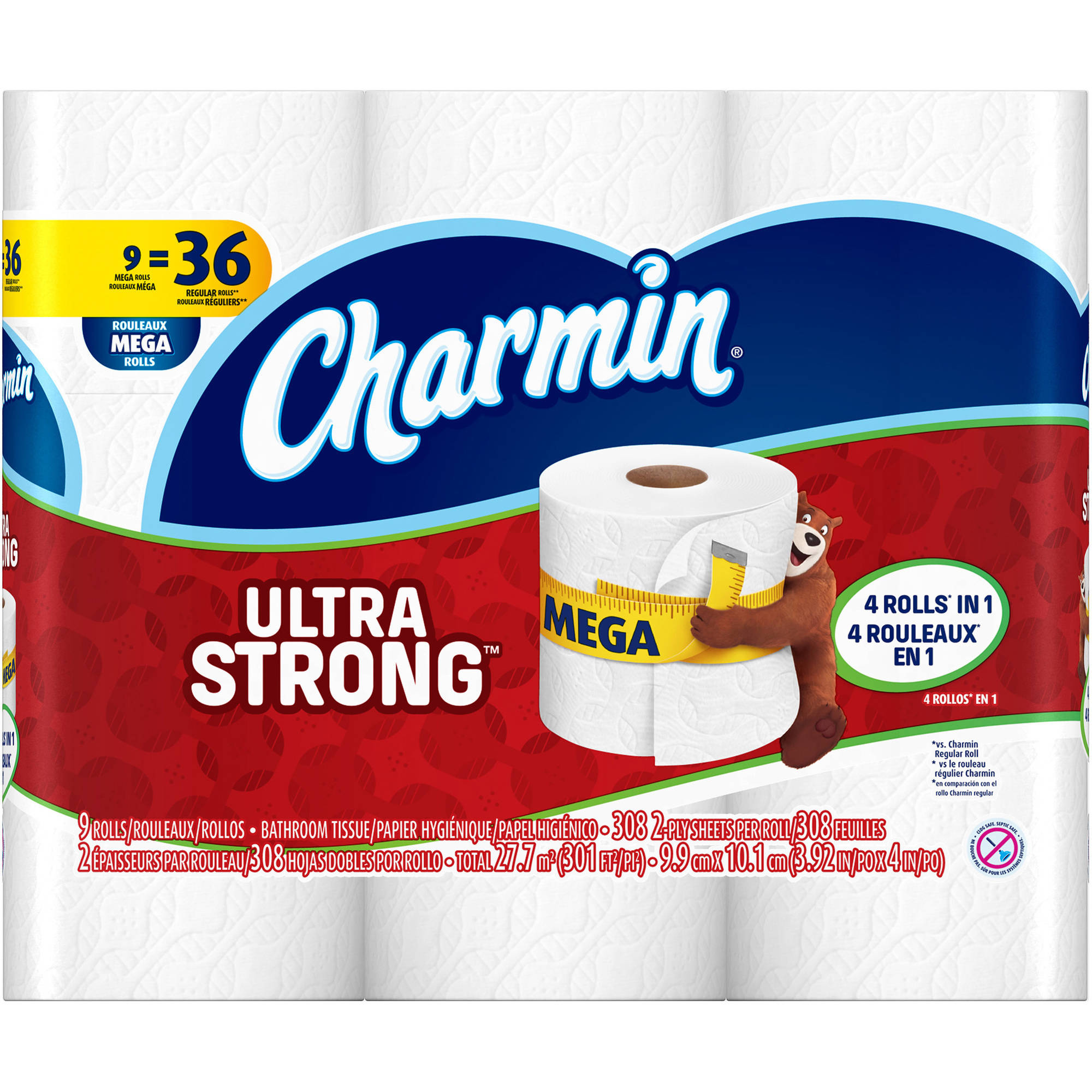 Charmin Ultra Strong Toilet Paper Mega Rolls, 308 sheets, 9 rolls