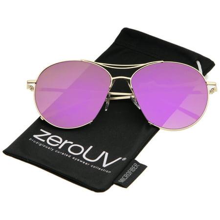 d3f94069ac zeroUV - Oversized Thin Metal Frame Semi-Rimless Colored Mirror Flat Lens  Aviator Sunglasses 60mm - 60mm - Walmart.com