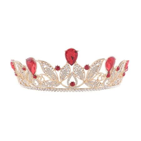 Wedding Bridal Tiara Crown Baroque Tiara Barrettes Hairband Clip (Red) - Red Tiaras