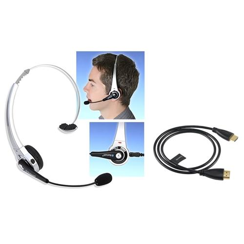 Insten Wireless Bluetooth Gaming Headset For Sony Playstation 3 PS3 + HDMI Cable 3' M/M