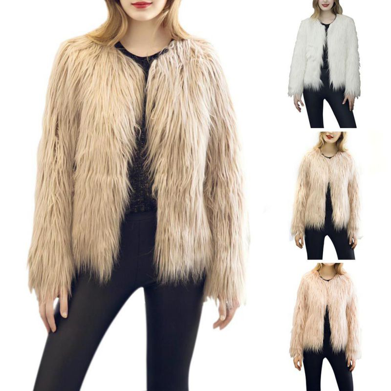Luxury Womens Slim Faux Fur Coat Outwear Jacket Overcoat Winter Warm Parka Tops by