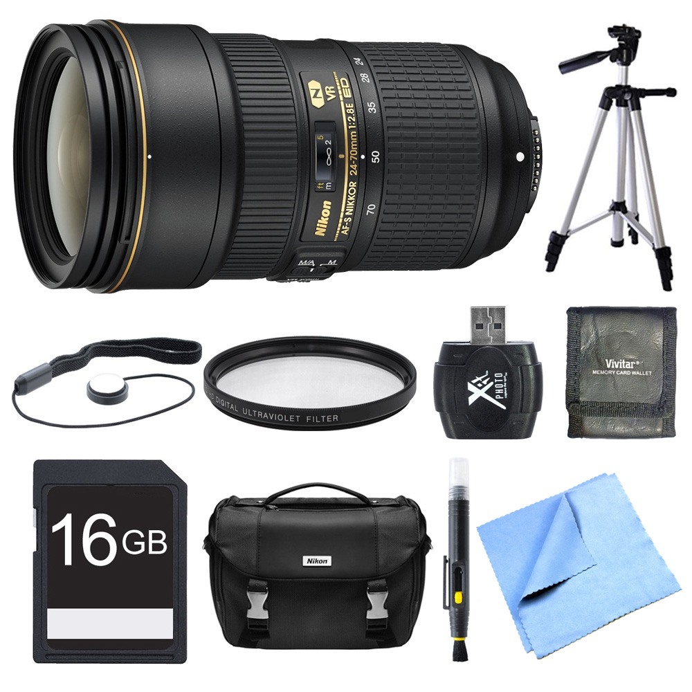 "Nikon 24-70mm f/2.8E ED VR AF-S NIKKOR Zoom Lens 16GB Bundle - Includes Lens, 16GB Memory Card, UV  Filter, Bag, Card Reader,  Mem Card Wallet, Lens Cap Keeper, 57"" Tripod, Lens Cleaning Pen Cloth"