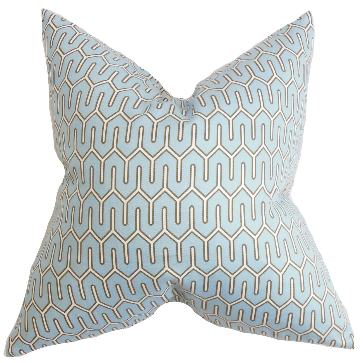 The Pillow Collection Aleeza Geometric 24-inch Down Feather Throw Pillow Blue