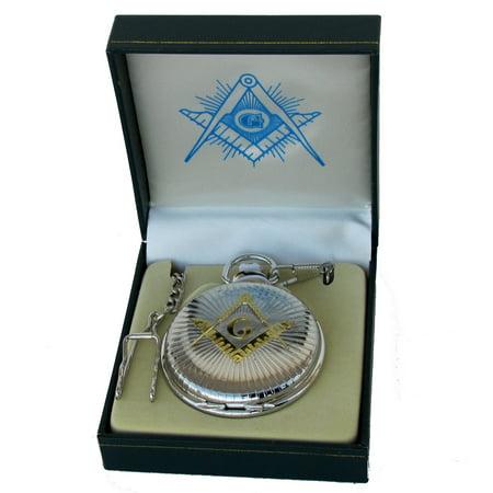 Freemason Master Free Mason Mens Pocket Watch Gold&Silver Tone Square&Compasses