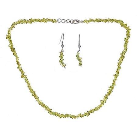 Peridot Gemstone Chip - Genuine 6mm Uncut Chip Bead Real Peridot Gemstone Necklace & Earrings Set In 925 Sterling Silver