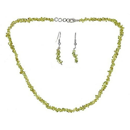 Genuine Stone Necklace Set - Genuine 6mm Uncut Chip Bead Real Peridot Gemstone Necklace & Earrings Set In 925 Sterling Silver