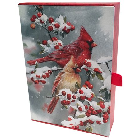Keepsake Boxed Card (LPG Greetings Christmas Cardinals Collection with Keepsake Box - Box of 20 Assorted Christmas Cards)