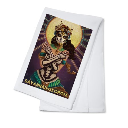 Savannah, Georgia - Day of the Dead Crossbones - Lantern Press Poster (100% Cotton Kitchen Towel)