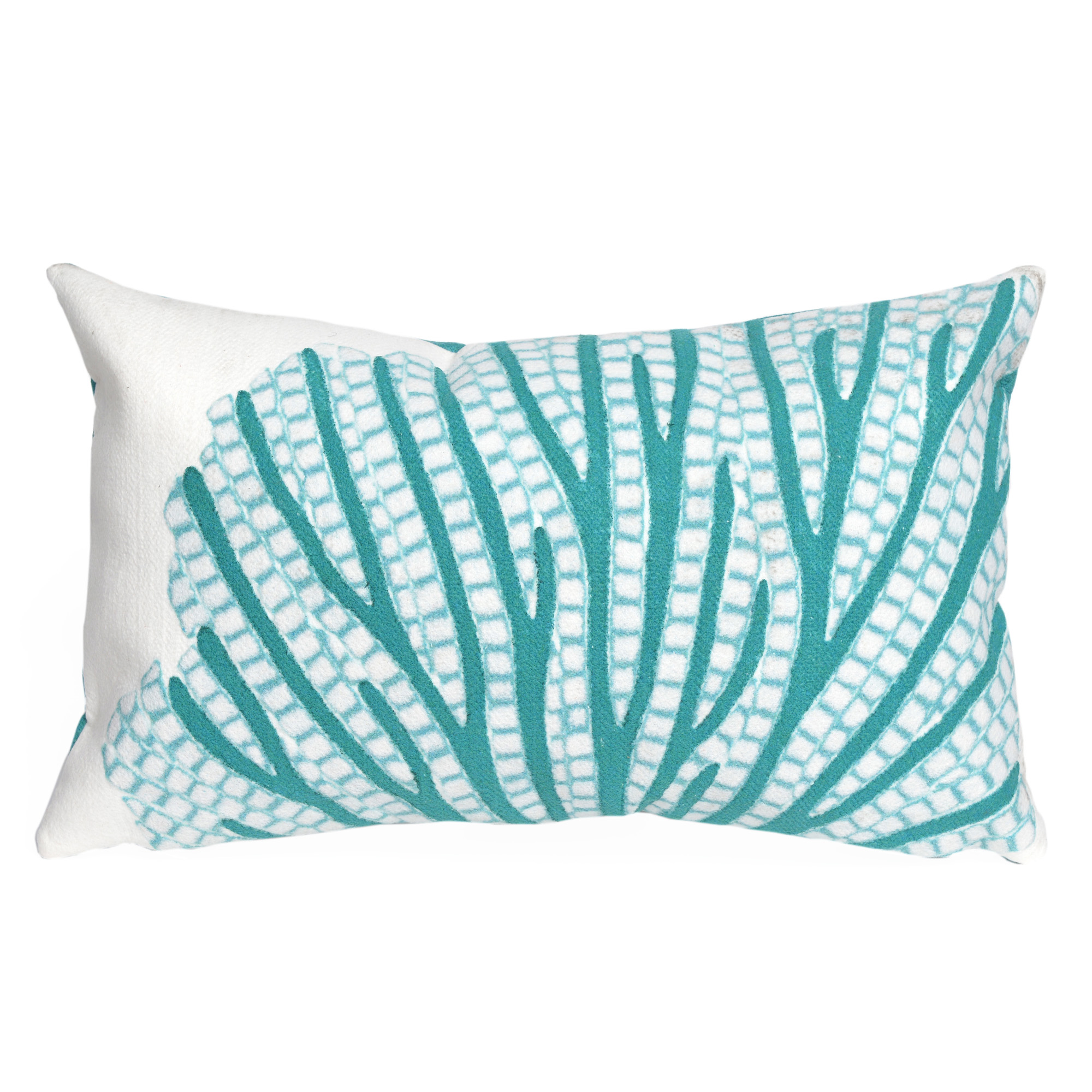 Liora Manne Visions III Coral Fan Indoor/Outdoor Pillow Blue 12 X 20