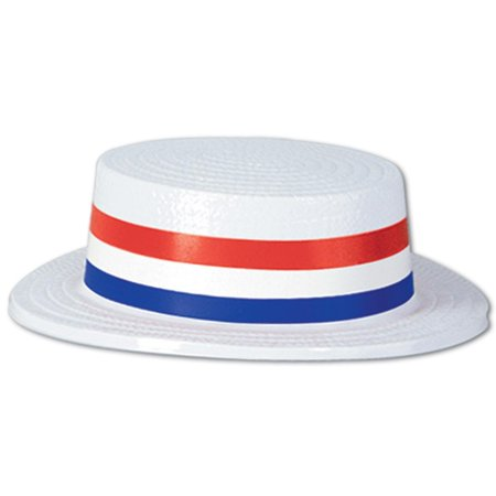 Skimmer Hats (Pack of 24 Patriotic 4th of July Skimmer Party Hats with Red, White and Blue Striped Bands)