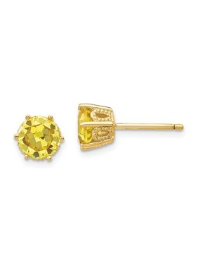 Sterling Silver Gold-plated 6.5mm Yellow CZ Stud Earrings
