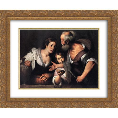 Bernardo Strozzi 2X Matted 24X20 Gold Ornate Framed Art Print Prophet Elijah And The Widow Of Sarepta