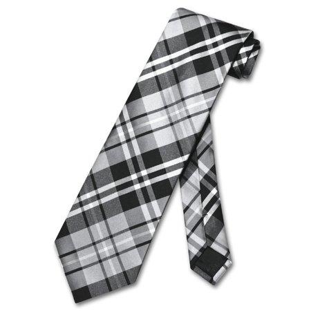Stewart Plaid Tie (Vesuvio Napoli NeckTie Black Gray White PLAID Design Men's Neck)