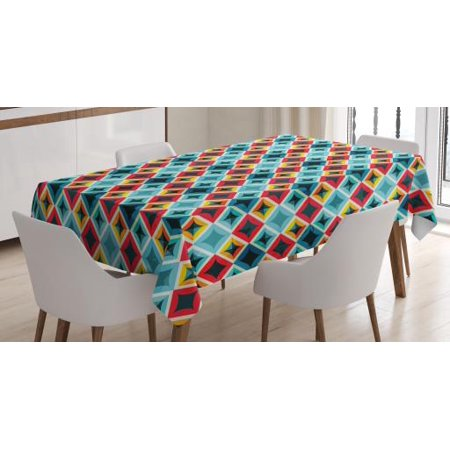 Geometric Tablecloth, Grunge Colorful Mosaic Diagonal Artsy Squares Frame with Crystal Effects Image, Rectangular Table Cover for Dining Room Kitchen, 52 X 70 Inches, Multicolor, by