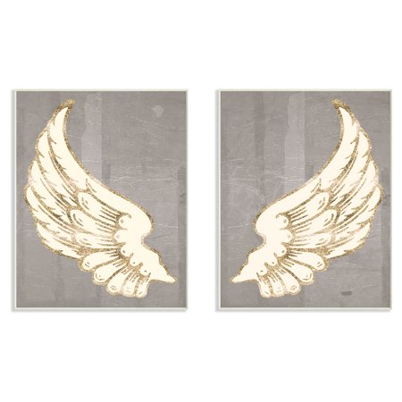 The Stupell Home Decor Collection Modern Baroque Angel Wings Dark Grey Wall Plaque Art - Set of 2