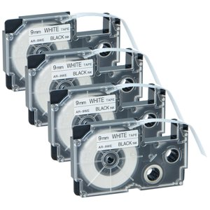 GREENCYCLE 4PK Black on White Label Tape Compatible for Casio XR9WE XR-9WE (9mm 0.35