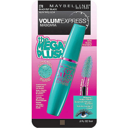 Maybelline New York Volume Express Mega Plush Washable Mascara, Blackest Black, 0.3 Fl Oz