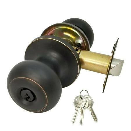 High Quality Door Knob Lock Entry Keyed Cylinder 3 Key Exterior Interior Kw1 ORB Exterior Door Locks