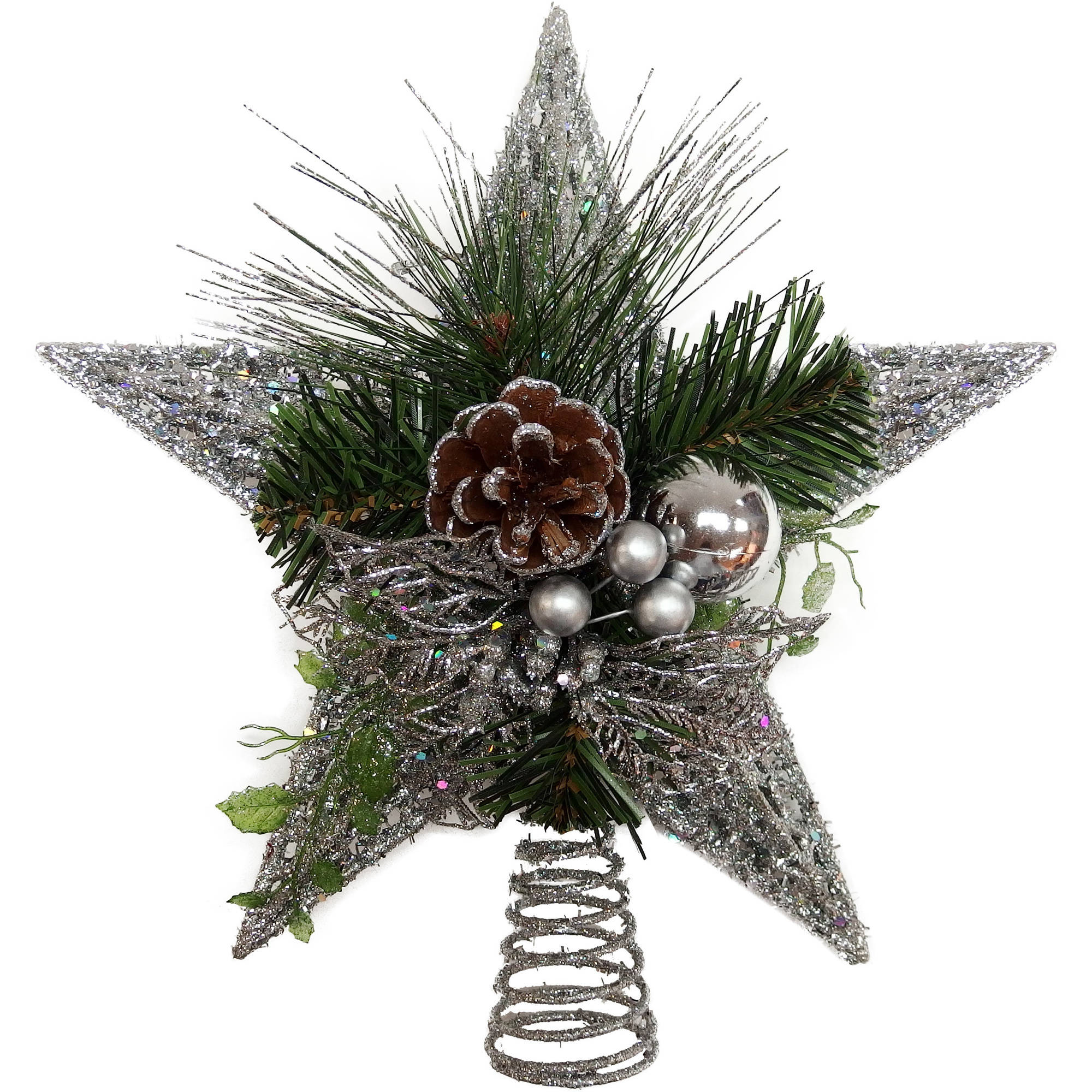 """Holiday Time 12"""" Glitter Pinecone Star Tree Topper"""
