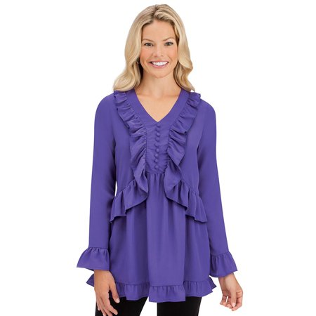 women's elegant ruffled blouse - flowing trim top, large, purple